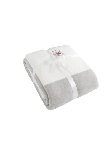 Dolce Bonita Home Pamuklu Tv Battaniye 127X155 Bir Başka Gri-Beyaz Gri